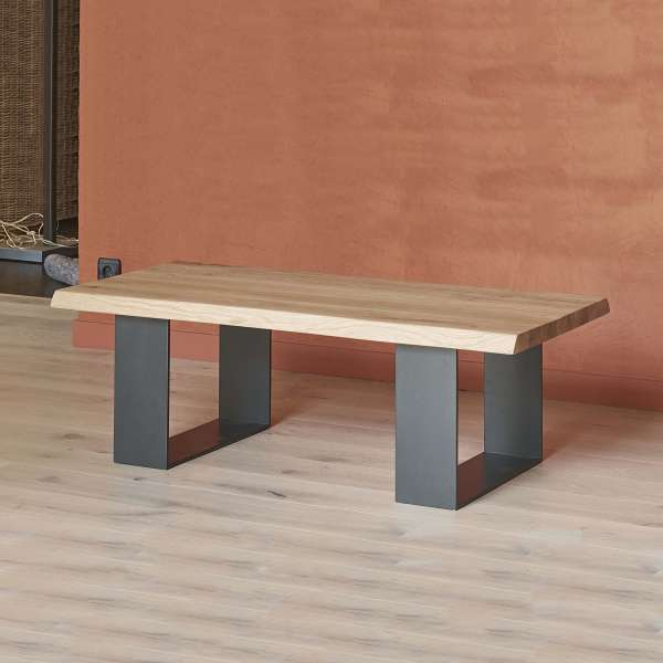 Table Basse Moderne Style Industriel En Chêne Massif Et Métal   Oregon