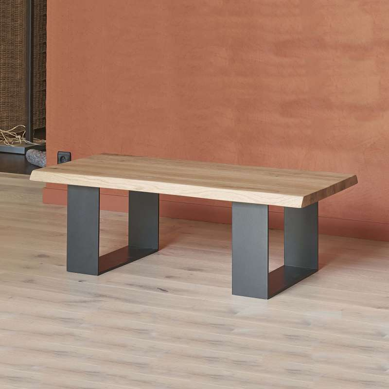 Table Bois Metal Design: Table Basse Moderne Style Industriel En Chêne Massif Et