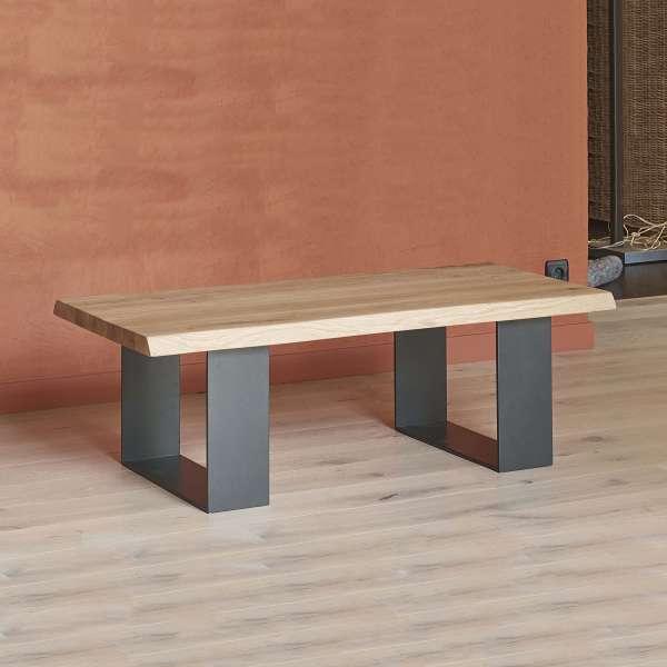 Table basse industrielle en chêne massif et acier laqué - Oregon - 2