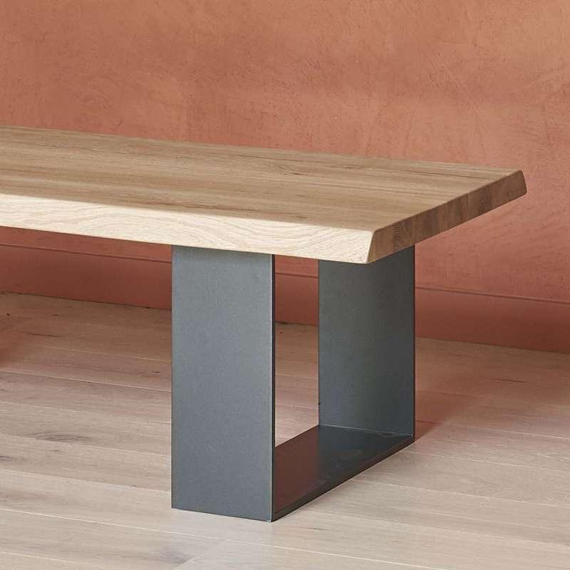 Table Chene Massif Moderne.Table Basse Moderne Style Industriel En Chene Massif Et Metal Oregon