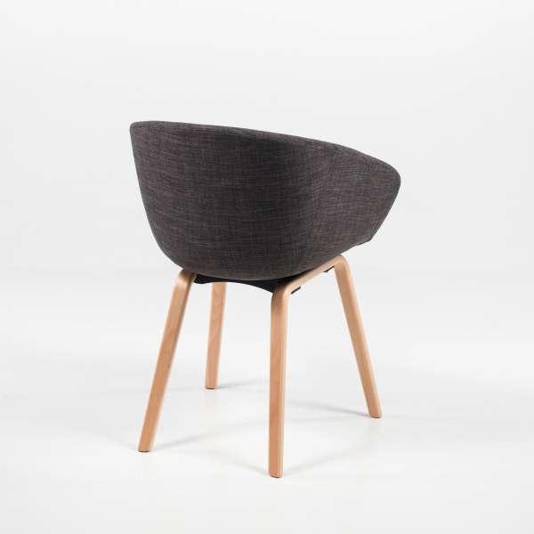 Fauteuil style scandinave en tissu gris et bois naturel - Loona - 4