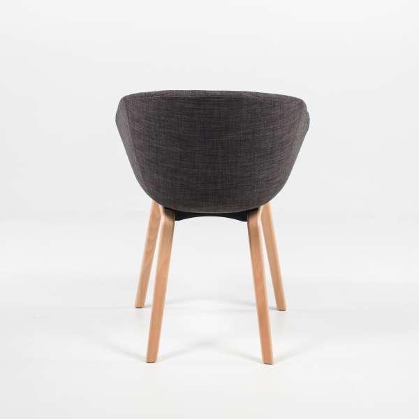 Fauteuil moderne en tissu gris et bois naturel - Loona - 5