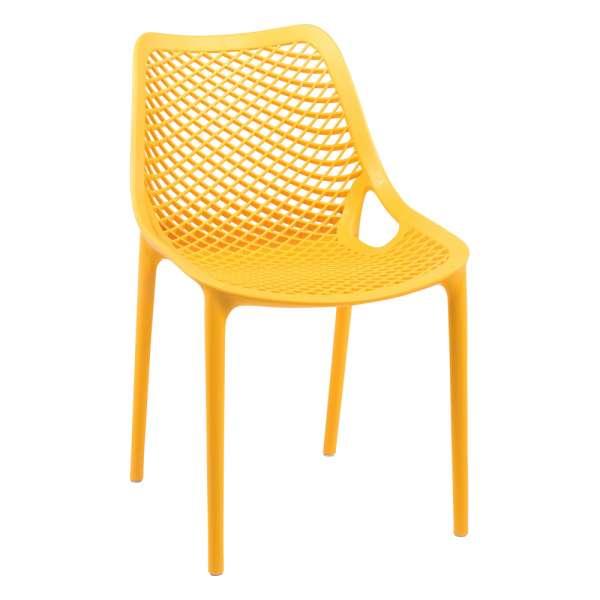 Chaise de jardin moderne ajourée en polypropylène moutarde - Air - 36