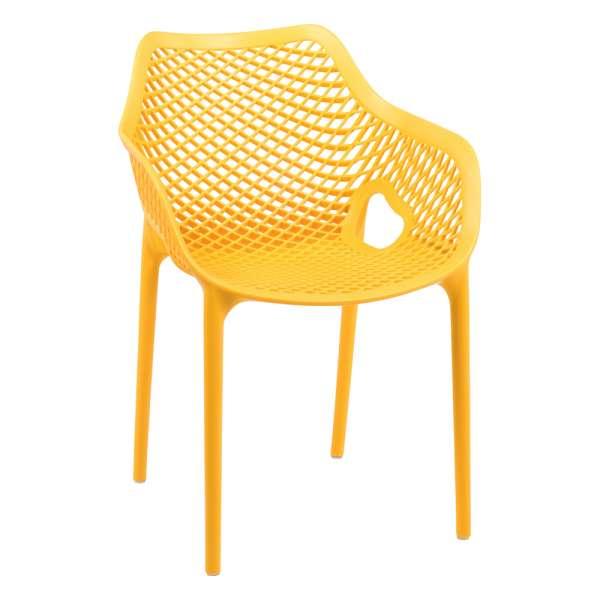 Fauteuil de jardin moderne jaune empilable - Air 24 - 30