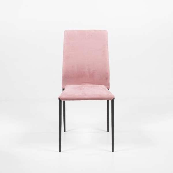 Chaise de salle à manger rose en tissu style nubuck et métal - Kendra - 2