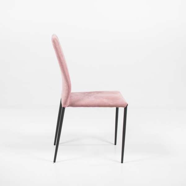 Chaise moderne en tissu vieux rose et métal - Kendra - 3