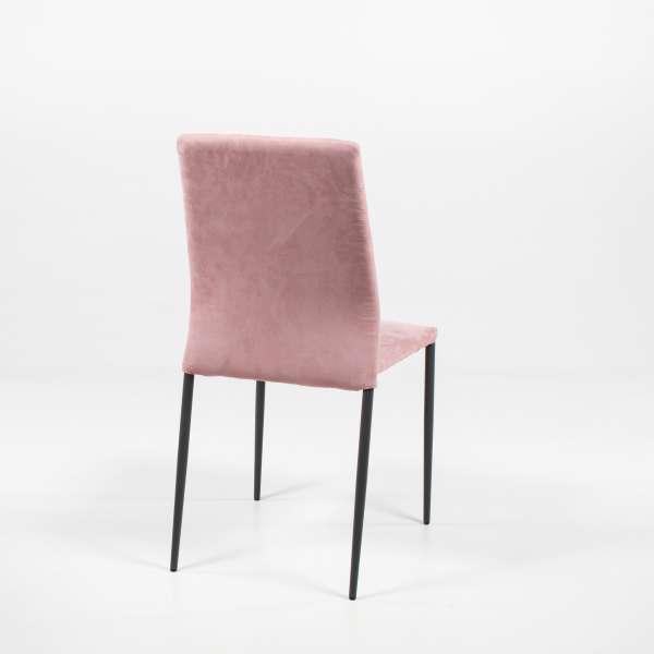 Chaise en tissu rose et métal - Kendra - 4