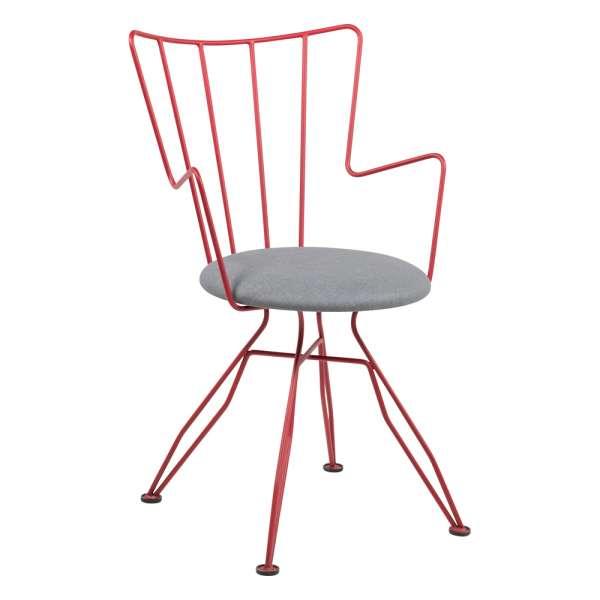 Chaise design en synthétique gris et métal rouge - Well - 5