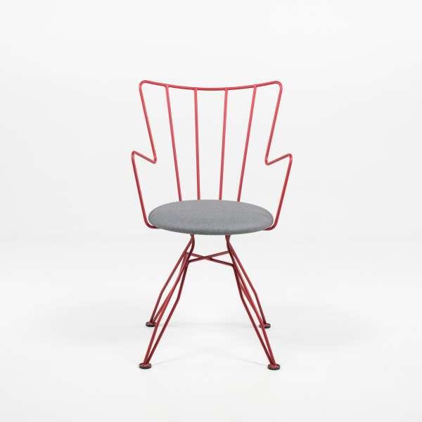 Chaise design rouge en synthétique et métal - Well - 6
