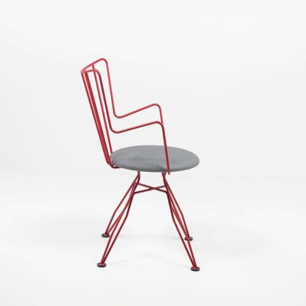 Chaise moderne rouge en synthétique et métal - Well - 7