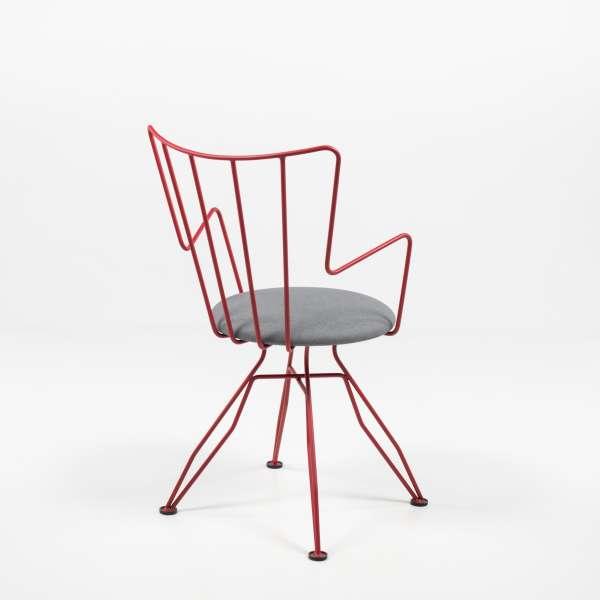 Chaise design rouge en synthétique et métal - Well - 8