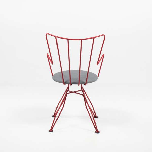 Chaise rétro design rouge - Well - 9