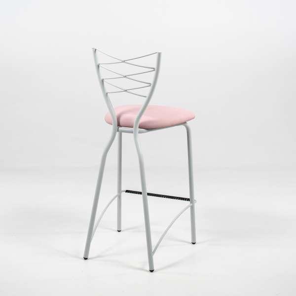 Tabouret hauteur 65 cm en synthétique rose et métal blanc - Romance - 11