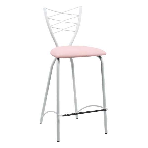 Tabouret snack en synthétique rose et métal blanc - Romance - 8