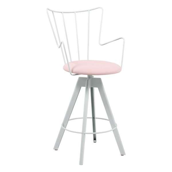 Tabouret snack design pivotant en synthétique rose et métal blanc - Well - 1