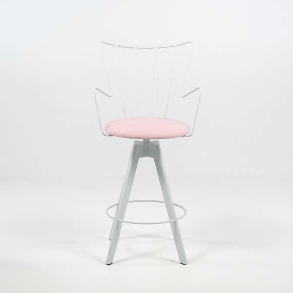Tabouret design pivotant en synthétique rose et métal blanc - Well - 2