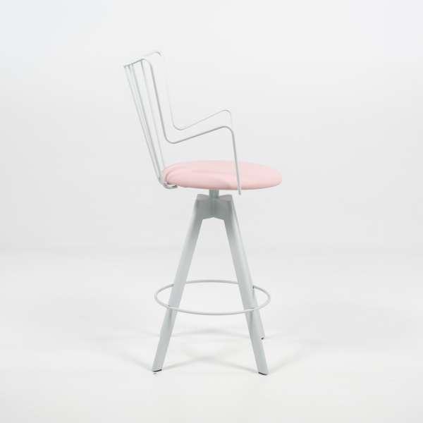 Tabouret snack design pivotant en vinyle rose et métal blanc - Well - 3