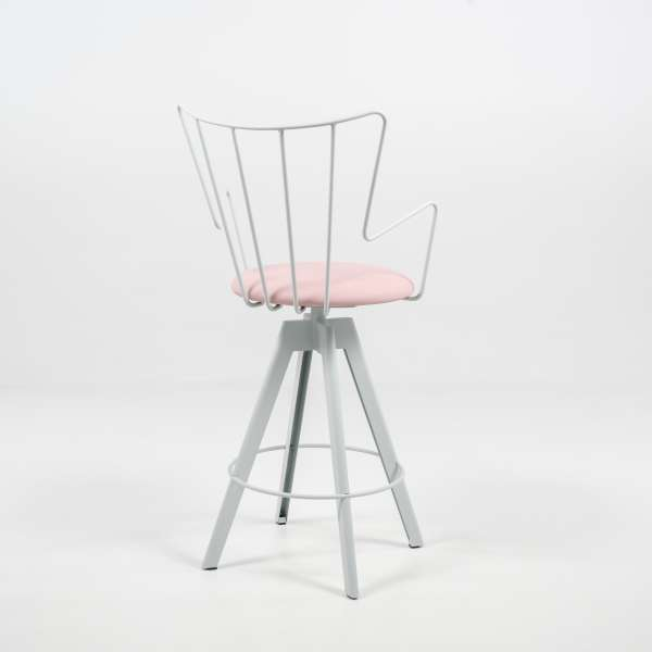 Tabouret snack design pivotant rose et blanc - Well - 4