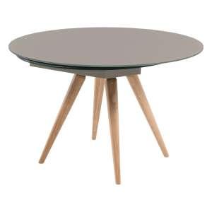 Table ronde moderne en verre gris foncé et bois - Myles
