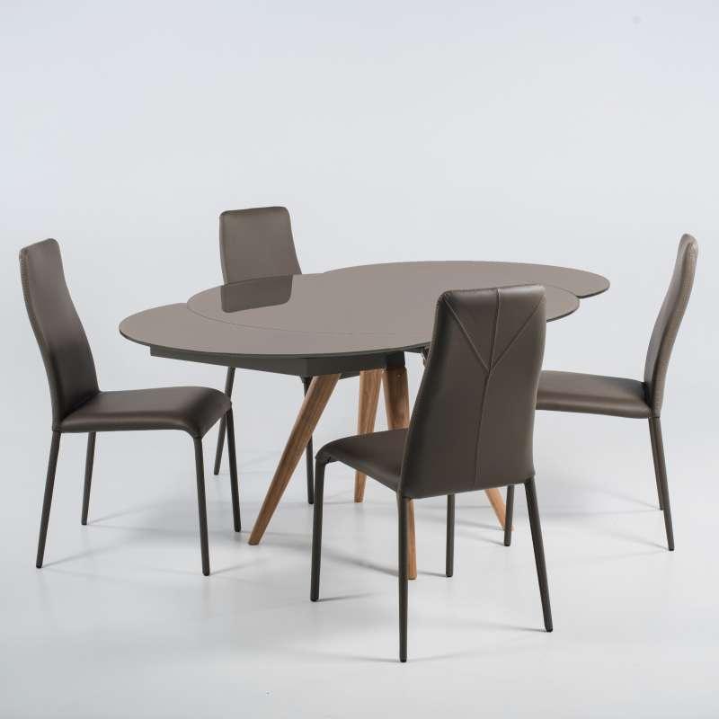 Table Verre Avec Bois Ronde En Et Demi Moderne Allonges Lune Myles TlKJuF1c3