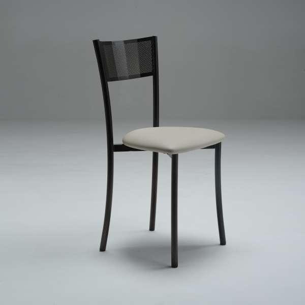 Chaise fabriquée en France contemporaine en synthétique et métal dossier ajouré - Wasabi - 3