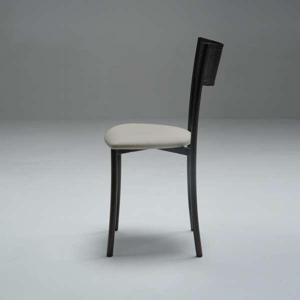 Chaise en synthétique beige et métal noir dossier ajouré - Wasabi - 4