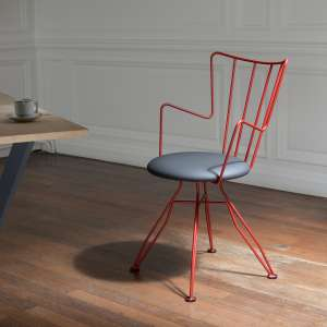 Chaise design rouge en métal  - Well