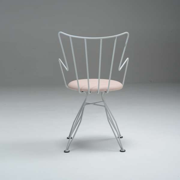Chaise rétro design blanche - Well - 11