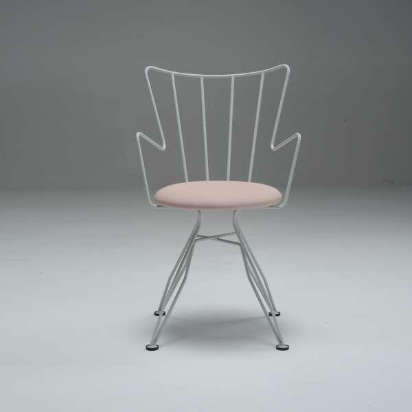 Chaise design en synthétique et métal blanc - Well - 12