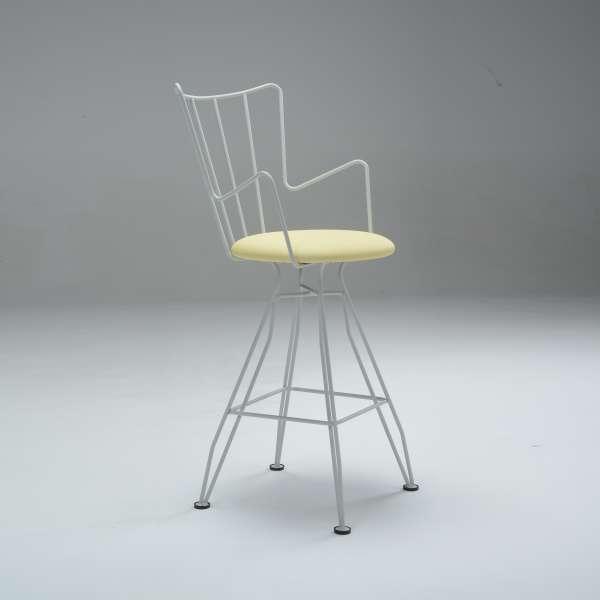 Tabouret snack design fabrication française en vinyle jaune et métal blanc- Well - 2