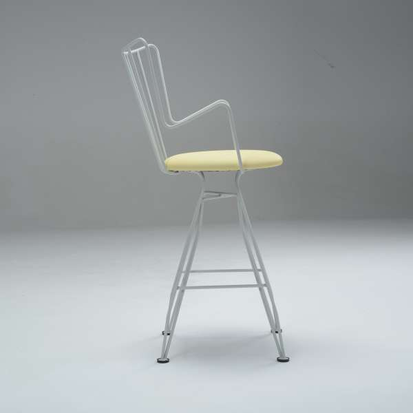 Tabouret snack design made in France jaune et blanc - Well - 4