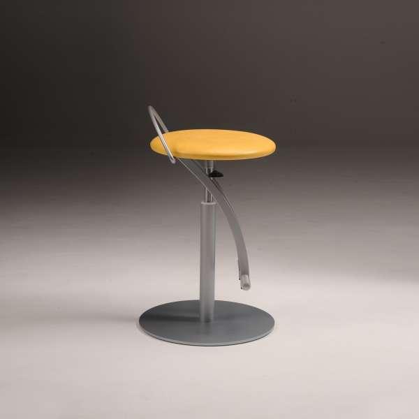 Tabouret moderne réglable en hauteur vinyle jaune et métal - Café - 2