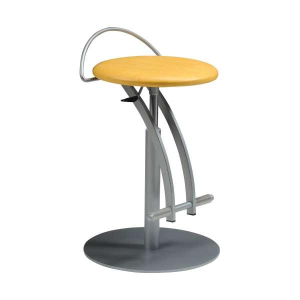 Tabouret réglable en hauteur vinyle jaune et métal - Café - 1