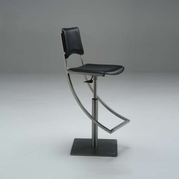 Tabouret réglable en métal et croûte de cuir noire - Ophélie - 2
