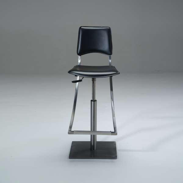 Tabouret réglable en hauteur et pivotant en métal et croûte de cuir noire - Ophélie - 3