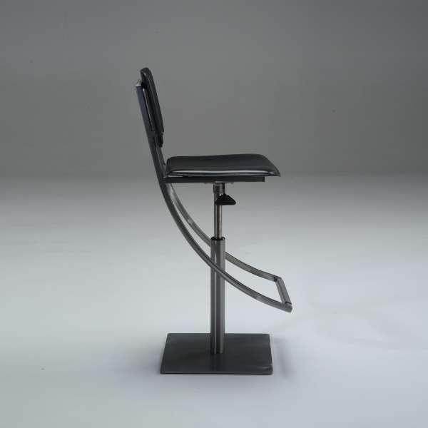 Tabouret réglable en acier et cuir noir - Ophélie - 4