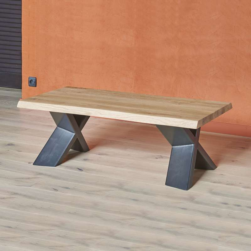 Table Basse Moderne En Chêne Massif Et Métal Pieds En X Forest 4