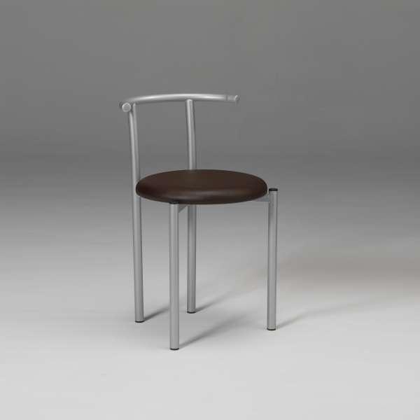 Chaise moderne dossier bas en métal et synthétique café - Adèle - 2