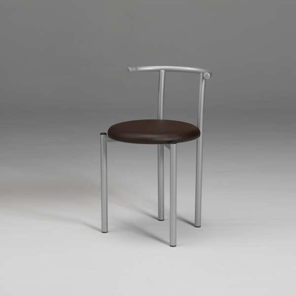 Chaise moderne dossier bas en métal et synthétique chocolat - Adèle 2 - 3