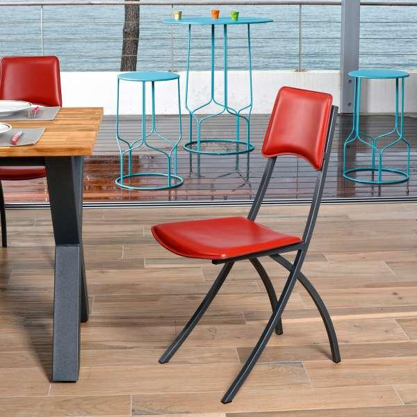 Chaise de cuisine en croûte de cuir rouge et métal - Ophélie - 1