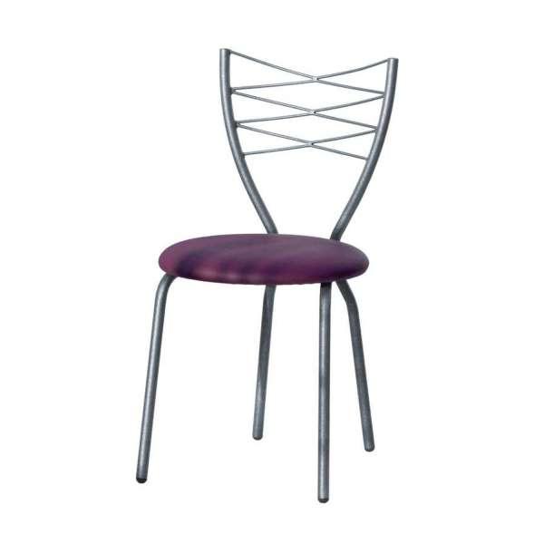 Chaise de cuisine fabrication française en synthétique mauve et métal - Romance - 2