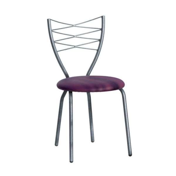 Chaise de cuisine en synthétique mauve et métal - Romance - 1