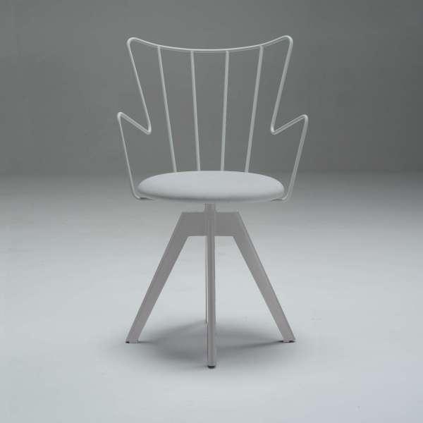 Chaise pivotante en synthétique et métal assise blanche - Well  - 4