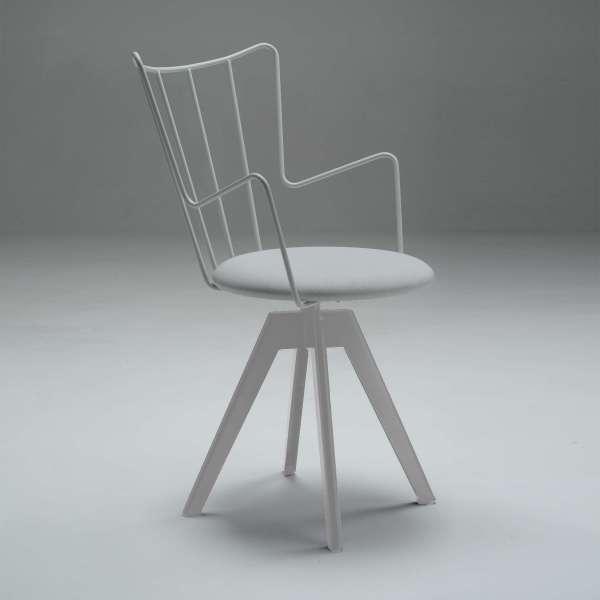 Chaise pivotante design en synthétique et métal assise blanche - Well  - 2