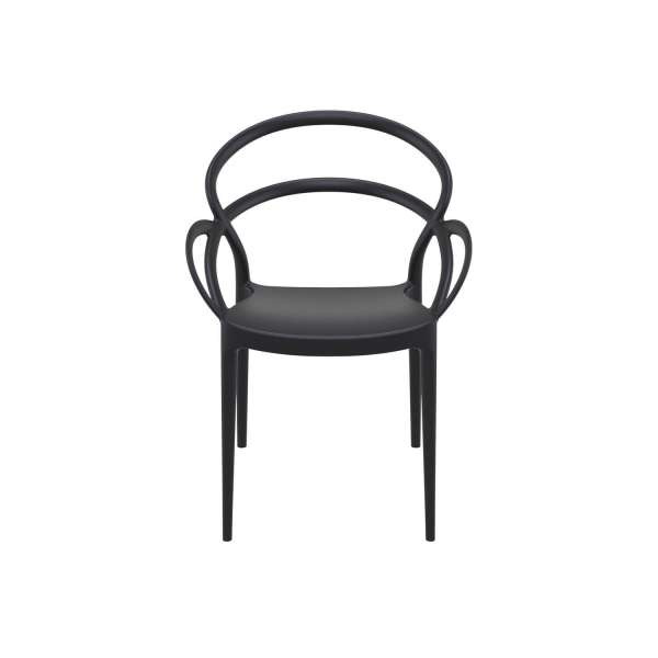 Fauteuil design en polypropylène noir - Mila - 8