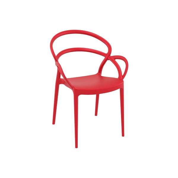 Fauteuil design en polypropylène rouge - Mila - 12