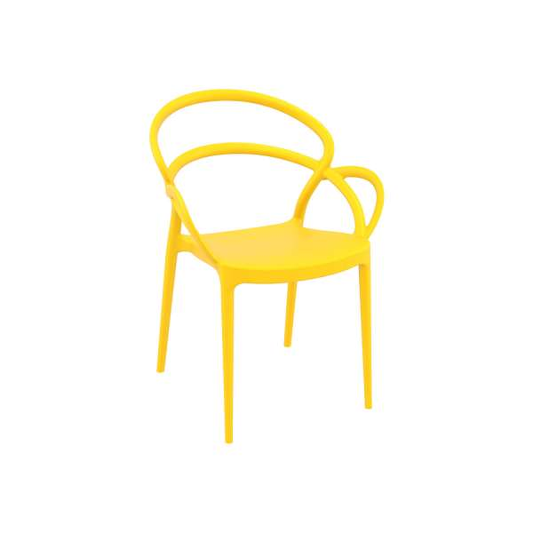 Fauteuil design en polypropylène jaune - Mila - 15