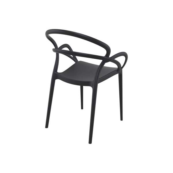 Fauteuil de jardin en polypropylène noir - Mila - 7