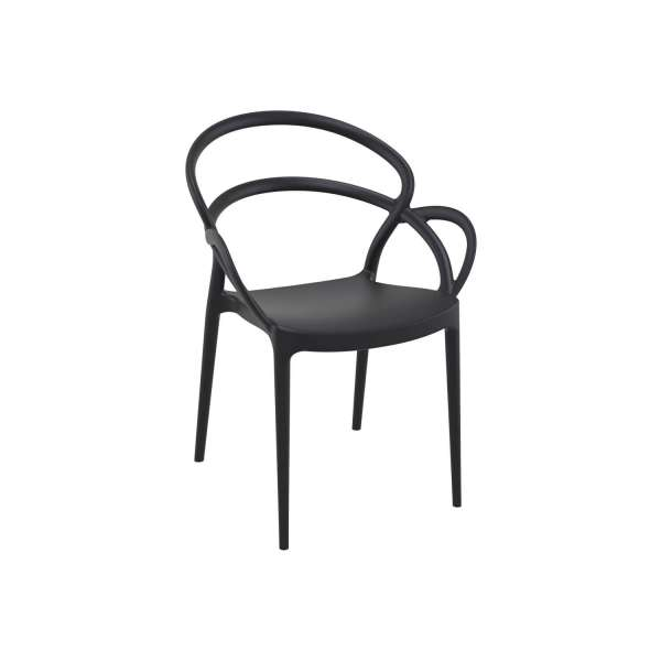 Fauteuil de jardin design en polypropylène noir - Mila - 4