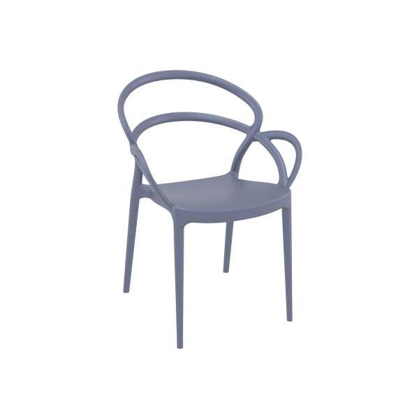 Fauteuil de jardin design en polypropylène gris foncé - Mila - 9